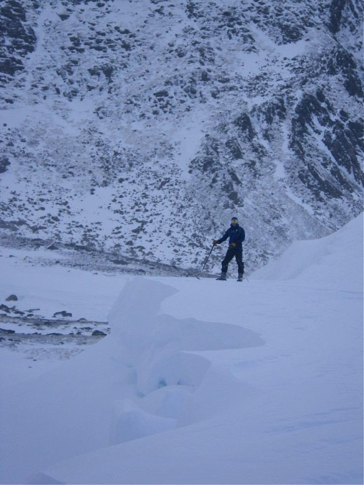 Large cornices and deep drifts on this E aspect