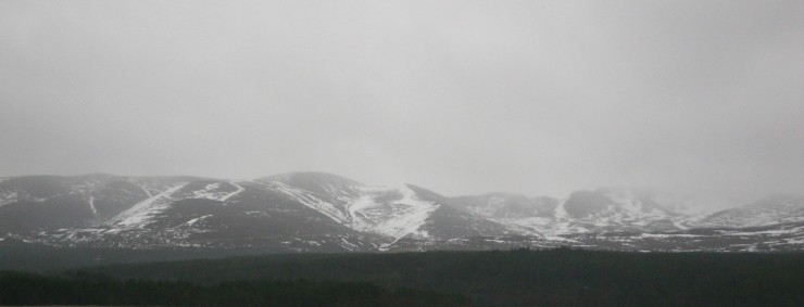 Looking at The Cairngorms through sheets of rain