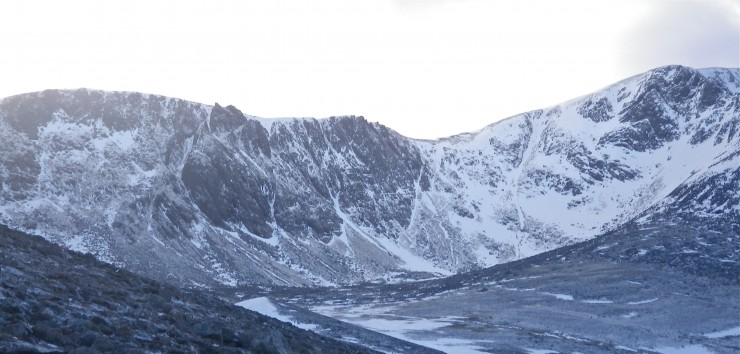 Coire an t-Sneachda, with sparse snowfields which are bolt hard neve.