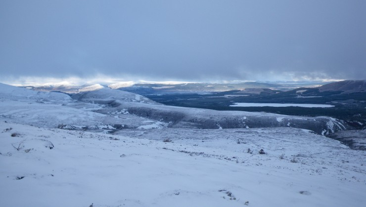Cloud base 700m clearer looking NW, a thin cover of snow lies on all aspects and levels.