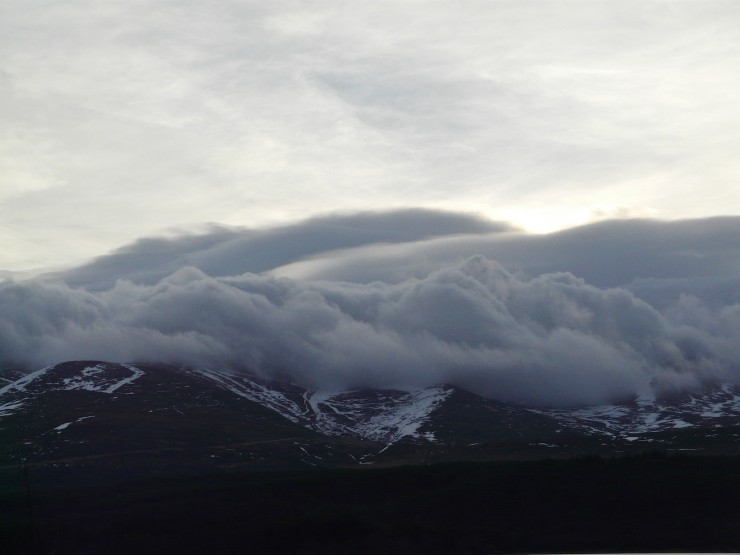 Cloud capped Cairngorms with storm force winds