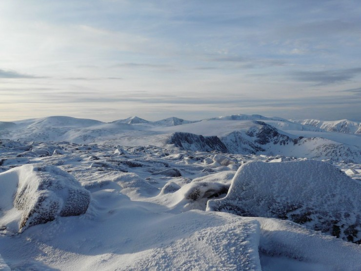 Toward Cairngorm plateau and Ben MacDui from Cairngorm Summit