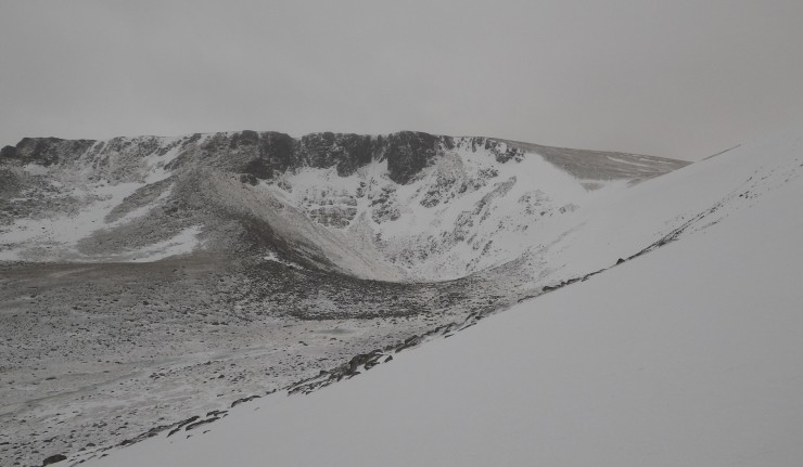 Coire an Lochain, most of the snow lies on Easterly aspects