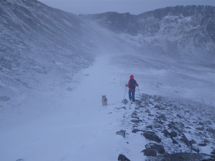 Sneachda Morains; a good example of windscoured areas verses deep windslab on the E side.