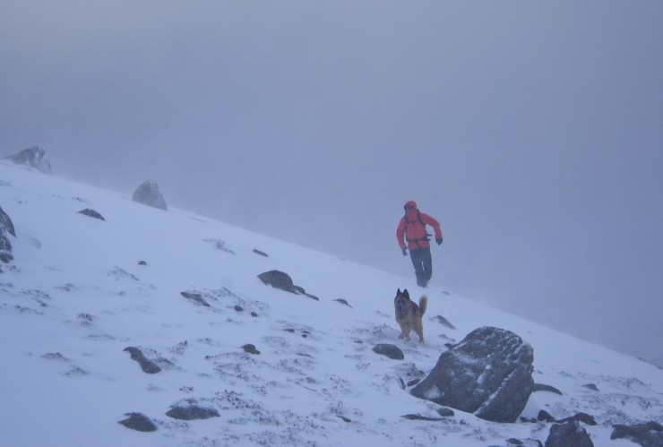 Poor visibility  in snow showers, strong winds on the ridges