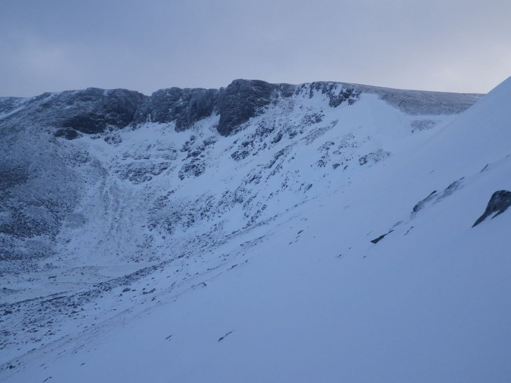 Coire Lochain from an East aspects showing snow distribution