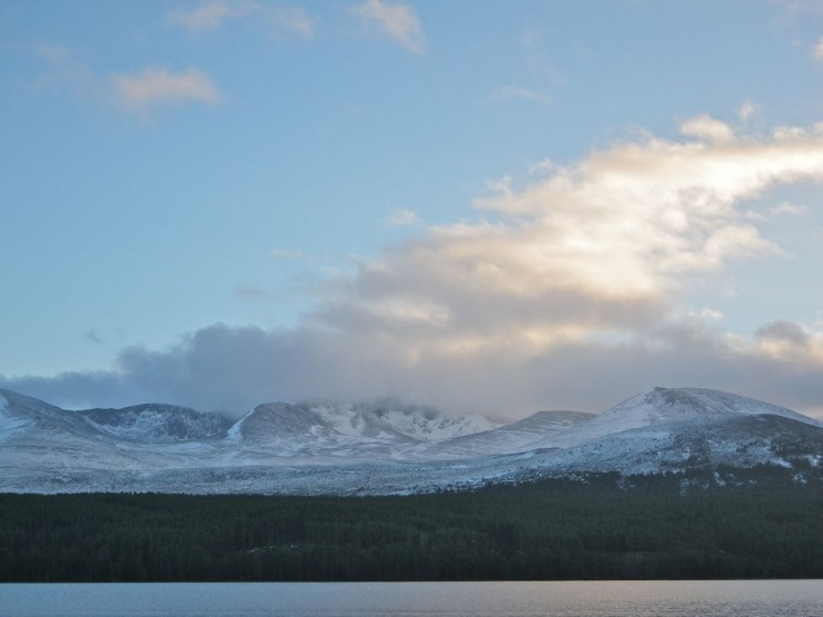 Evening light on the Northern Corries from Loch Morlich