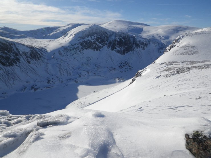 A frozen Loch Avon with Carn Etchachan and Shelter stone behind