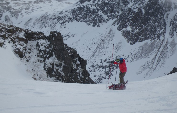 Windslab had accumulated around the top of diagonal gully, firm neve below.
