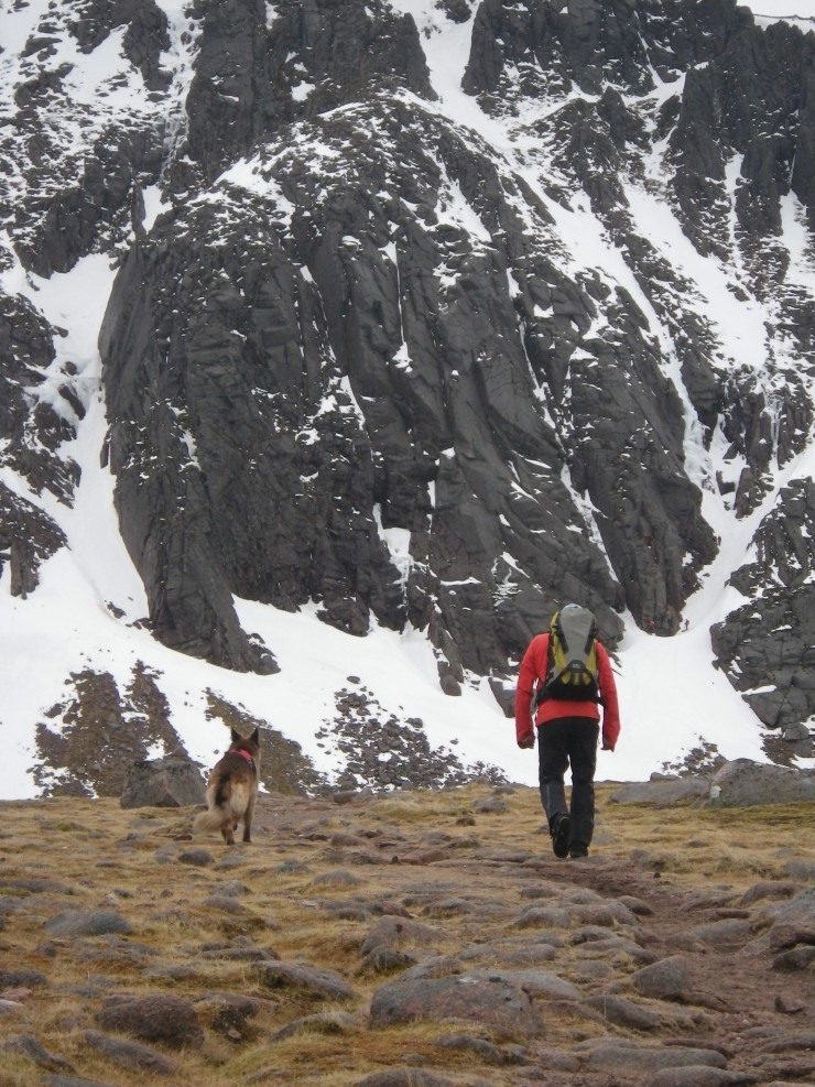 Approaching the coire with Aladdin's buttress in view