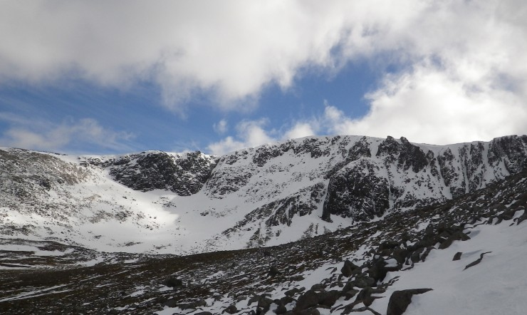 Coire an t Sneachda, a strong head wind  walking in -  gusty and blowing us over at the start of the boulder field so we gave it a miss!