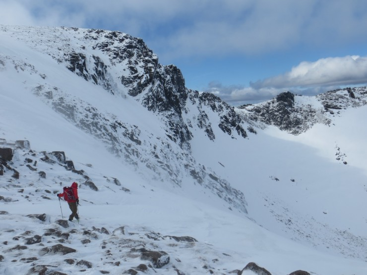 Looking into Coire an t Sneachda from the Goat track - notable weak windslab building here