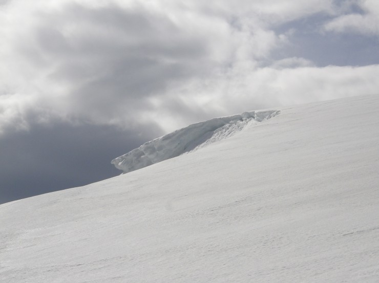 A large cornice comes into view on the approach to Cnap Coire na Spreidhe. which faces East.