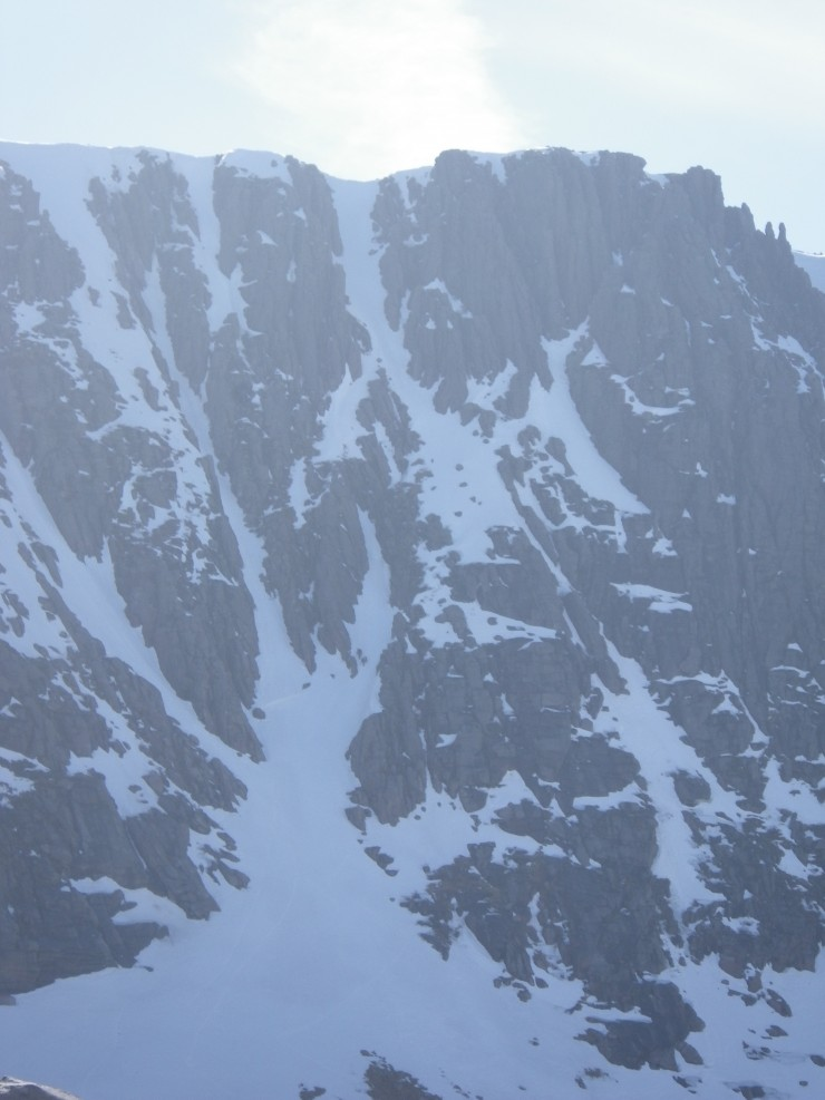 Trident gullies - The snow was much firmer on these shaded Northerly aspects