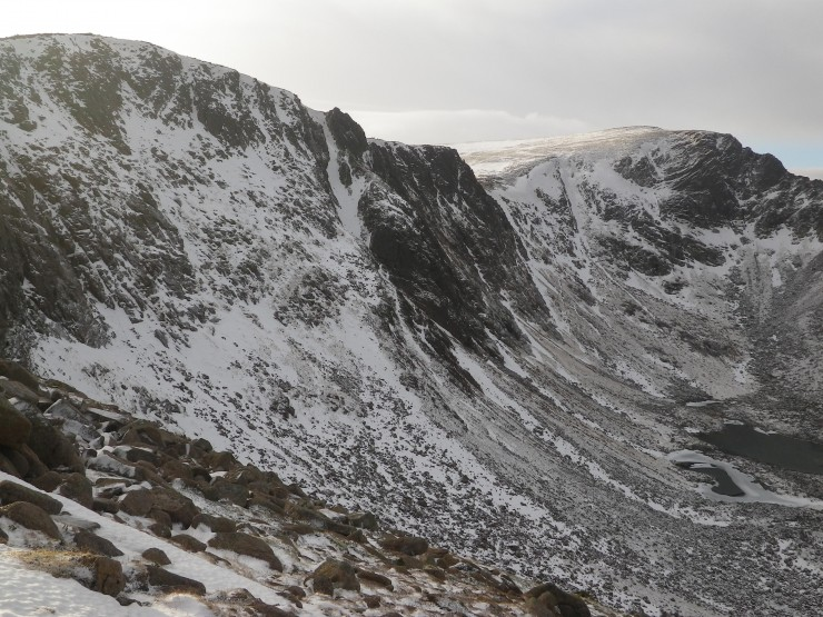 Coire an-t Sneachda - remaining snow is lead and bullet hard
