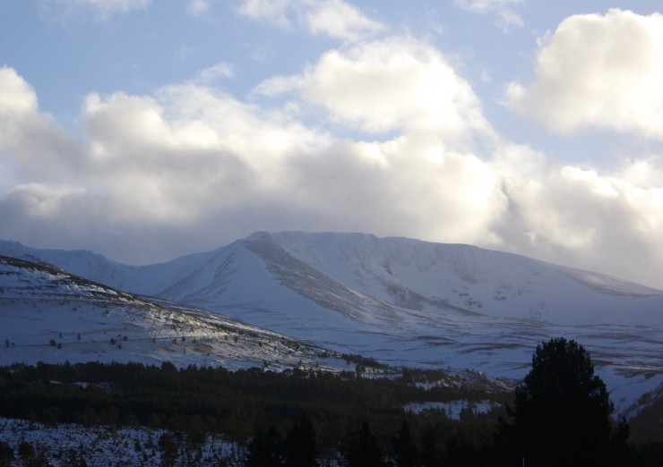 A glimpse of Coire an Lochain between snow showers