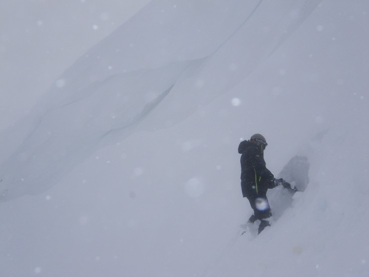Some older cornices have turned into solid ice; however new unstable cornices are developing