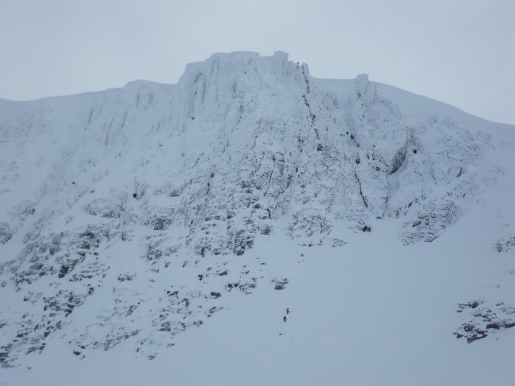 A busy day on Fluted Buttress