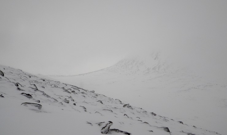 Clouds briefly cleared revealing a glimpse of Coire an t-Sneachda