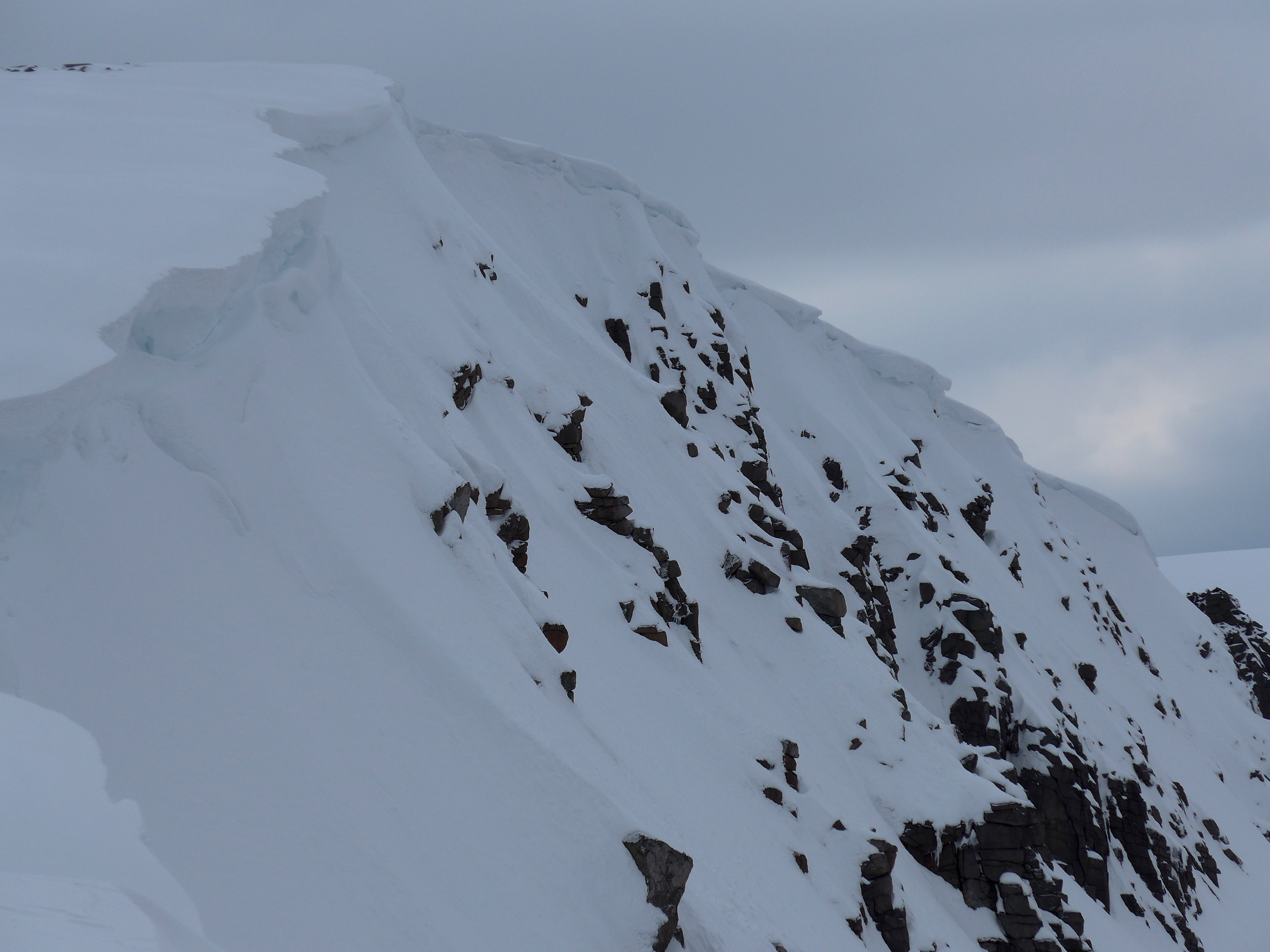 Cornices overhang many Northerly slopes
