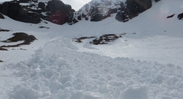 Recent avalanches as temperatures rise.